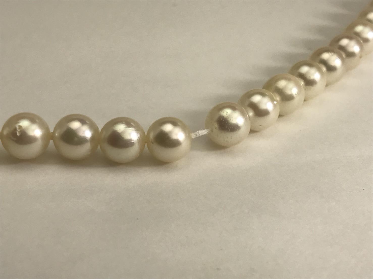 和珠真珠ネックレスの糸交換