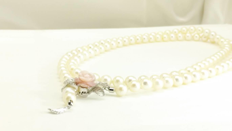 ロング真珠ネックレスの糸換え加工/長さの調節できるマグピタ加工