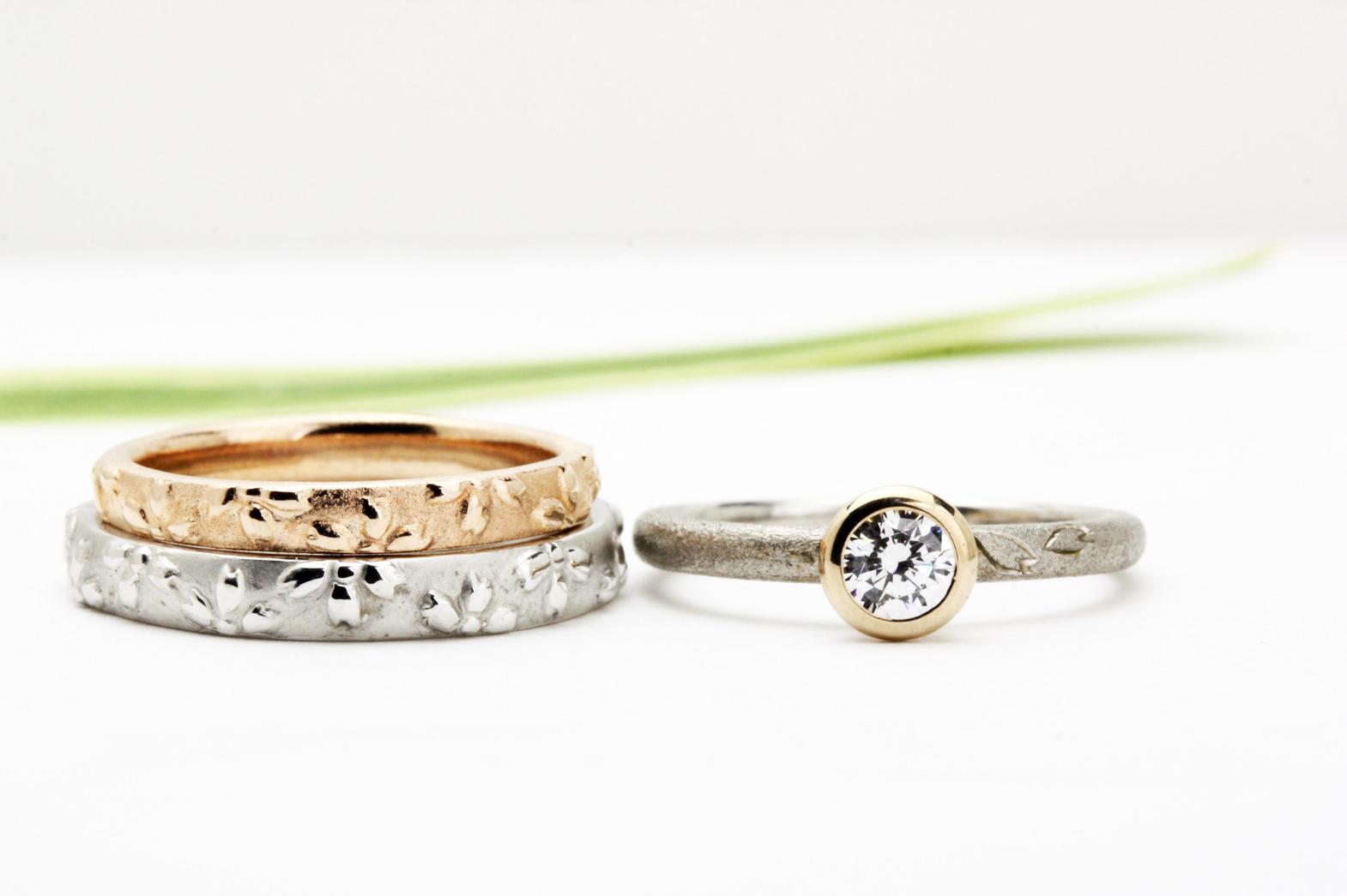 「万葉桜」より婚約指輪「高峯」