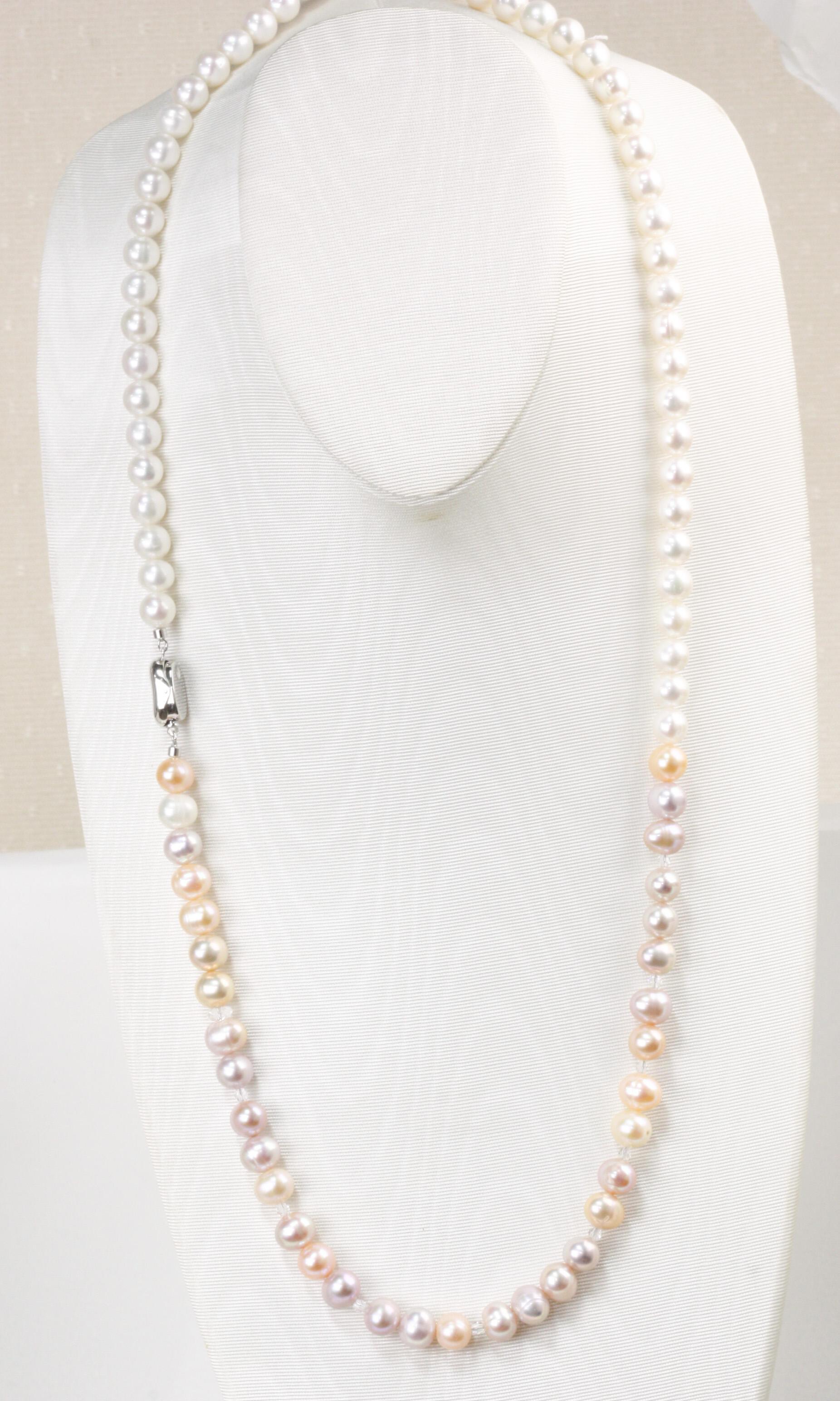 85㎝湖水真珠と淡水真珠のアレンジロングネックレス