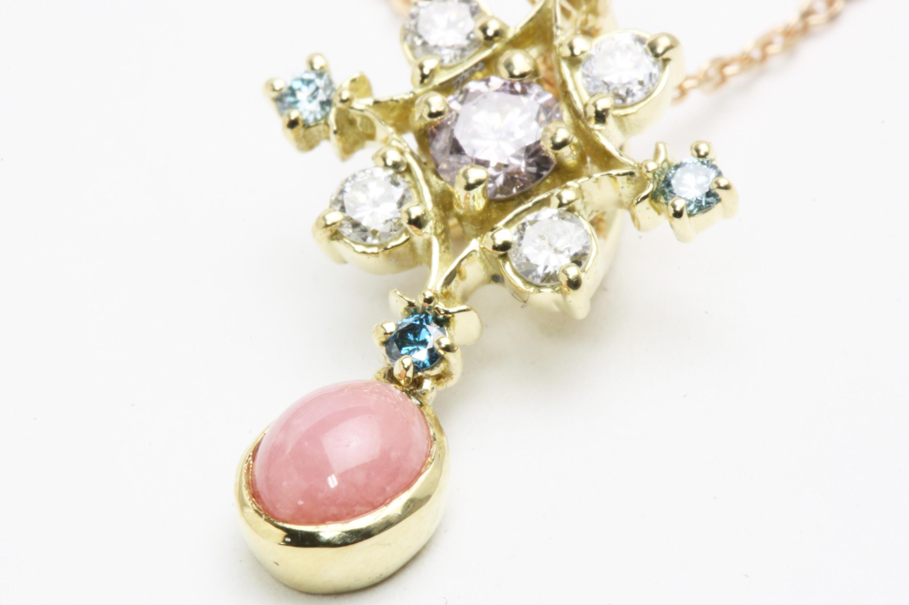 コンクパールとピンクダイヤモンドのペンダント