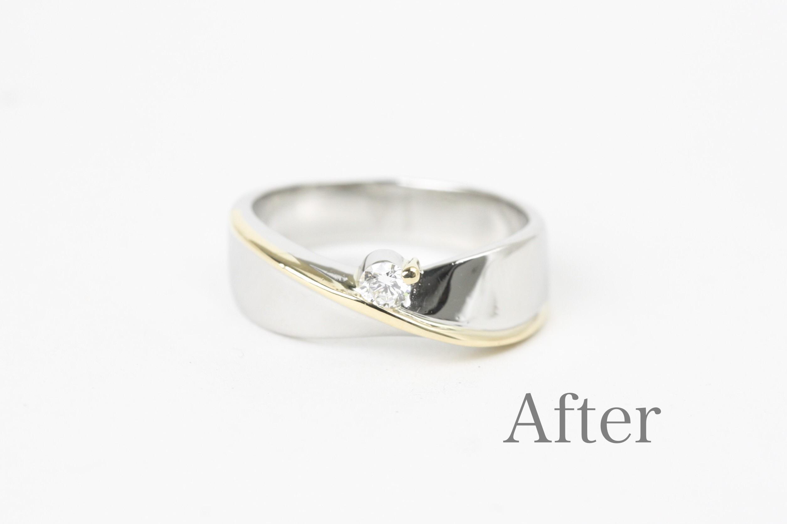 記念のダイヤモンドリングの石入れ修復加工。