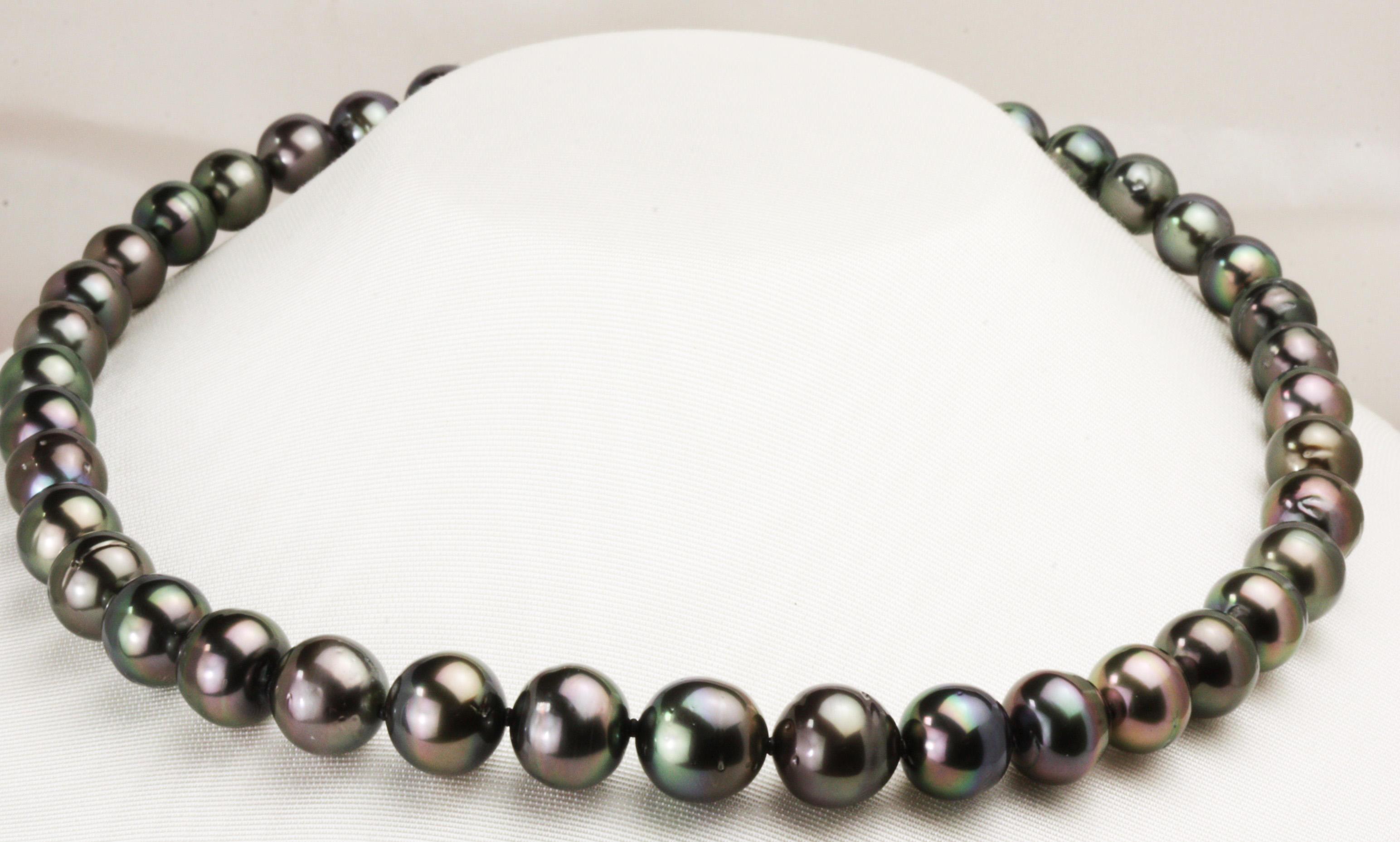 いつかは欲しかった憧れの黒蝶真珠真珠ネックレス11㎜