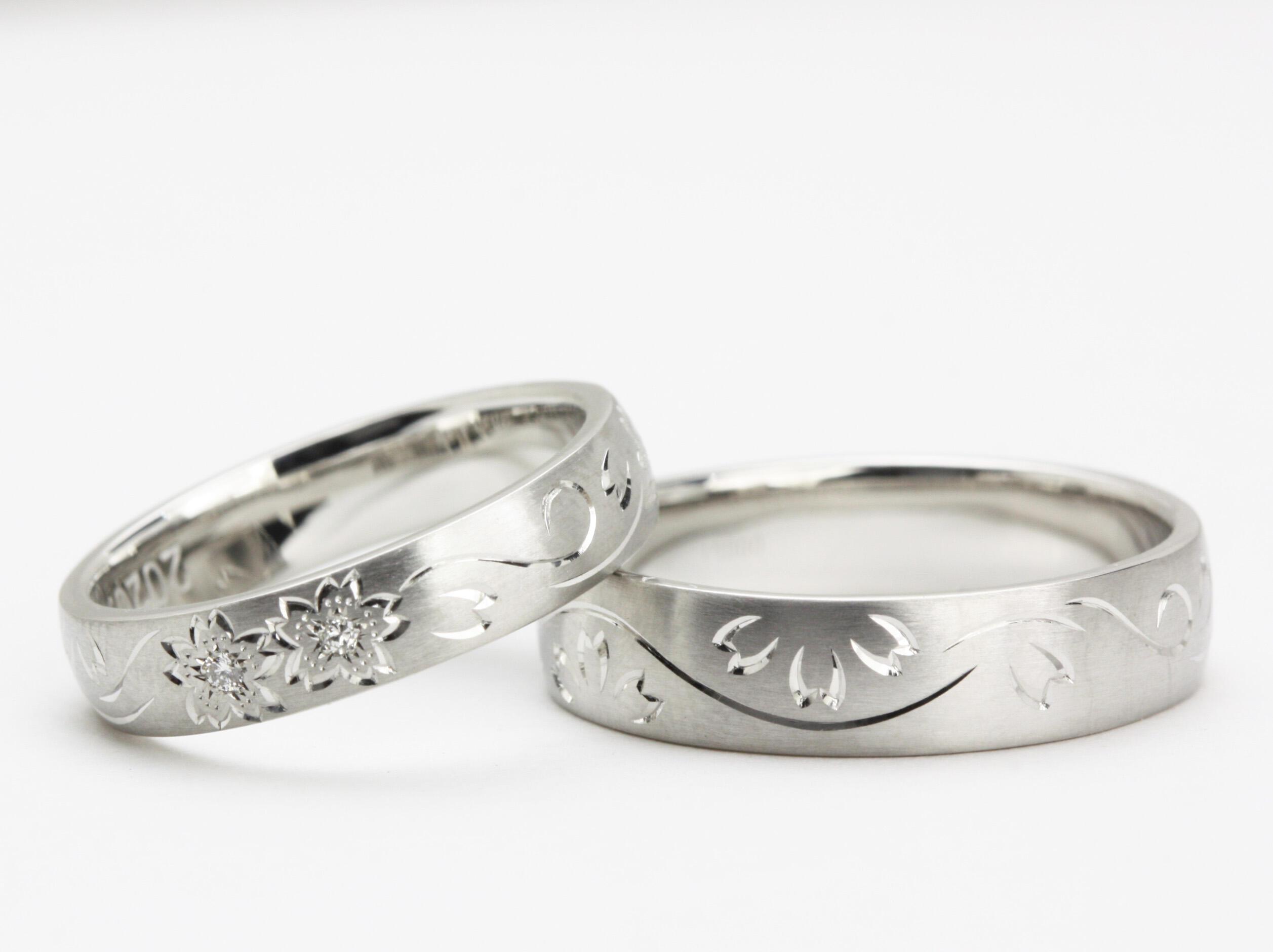 「花筏」の手彫の結婚指輪