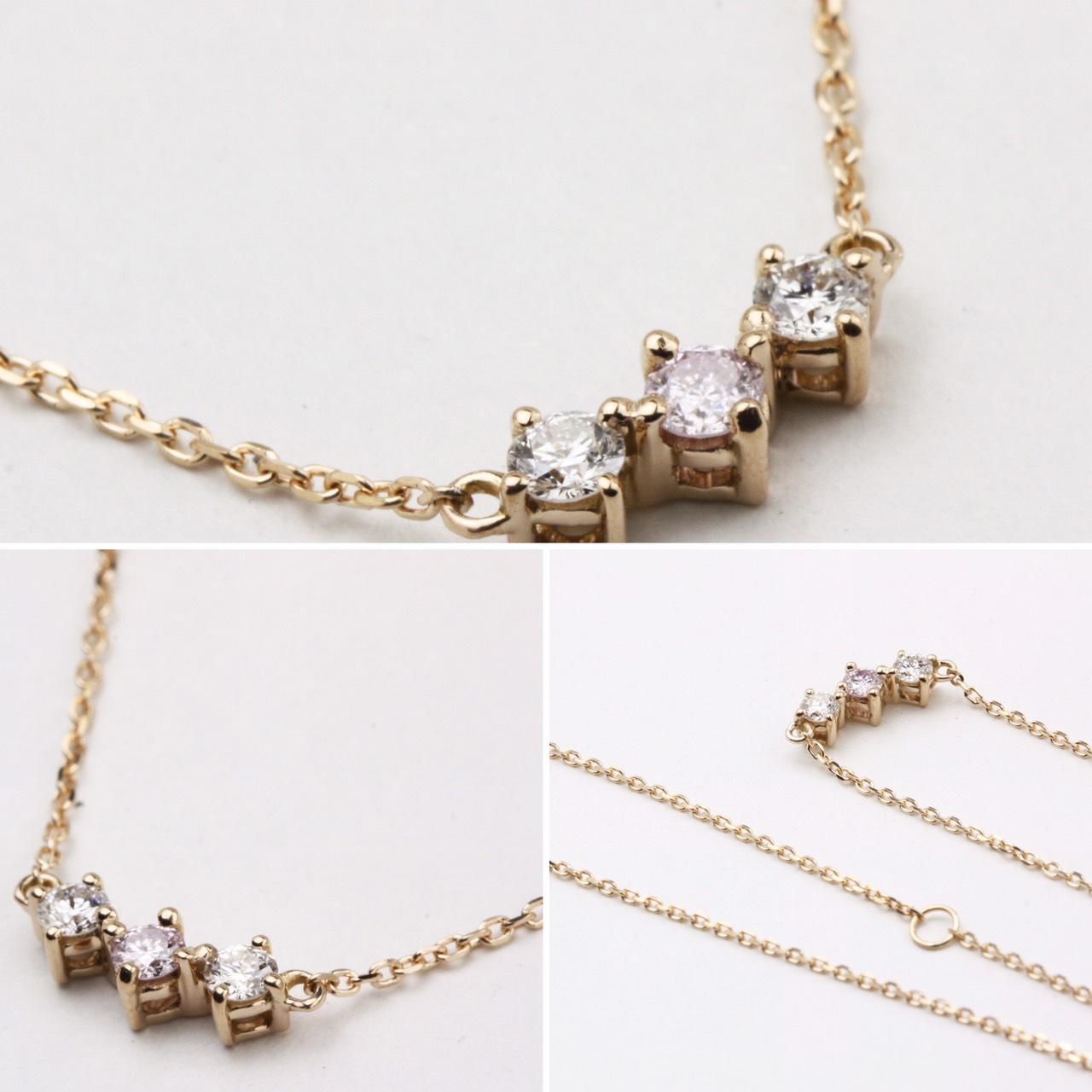 ピンクダイヤの3連ネックレス